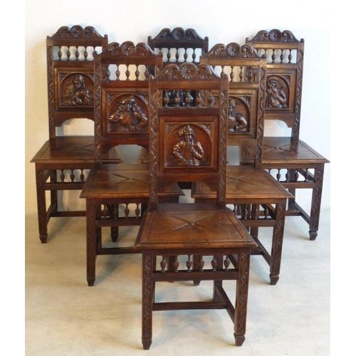 680 - A good set of six late 19th Century Breton oak Dining Chairs, each Chair with individually carved Ro...