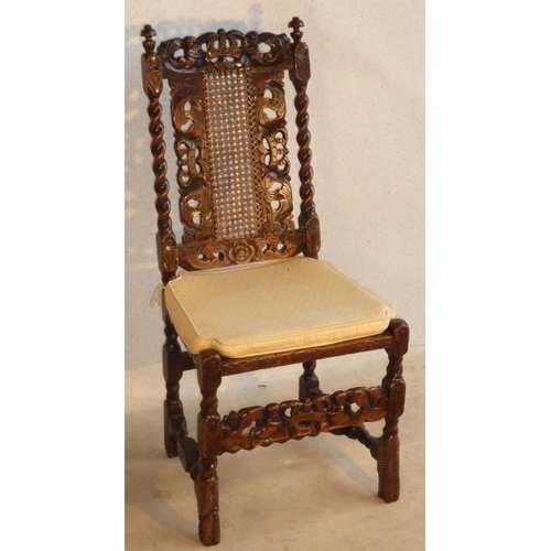 683 - A late 17th Century walnut Side Chair, the top rail with pierced central crown being held aloft by t...
