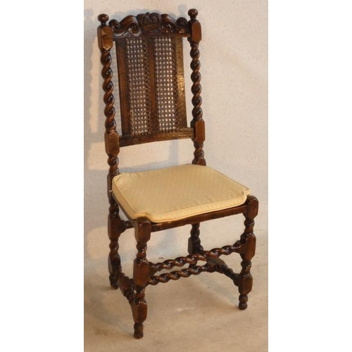 684 - A William and Mary style walnut Side Chair, the top rail with a central crown flanked by scrolls and...