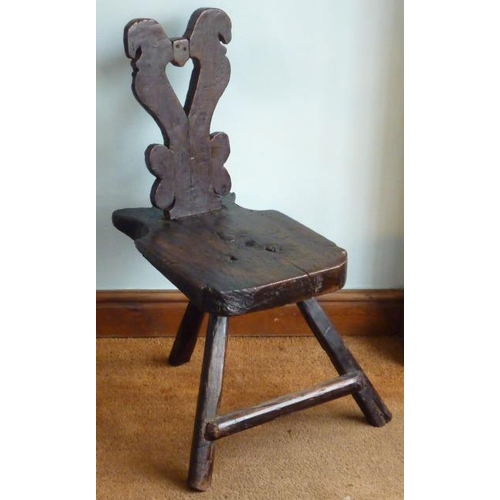 690 - An unusual primitive 19th Century stained pine Chair (possibly made from drift wood), vertical splat...