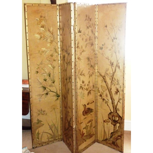 692 - An aesthetic style gilded three fold leather Room Screen...