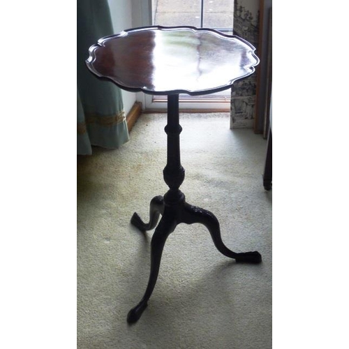 696 - A good George III style (later) scallop edge topped mahogany Wine Table on three downswept legs tigh...