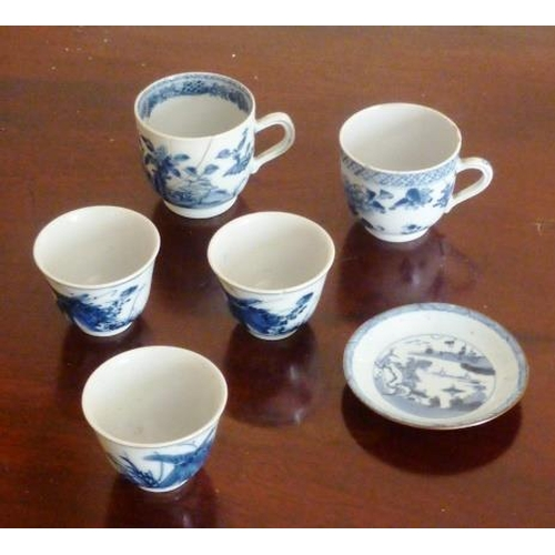 7 - Three 19th Century blue and white porcelain Tea Bowls (probably Japanese) together with one other si...