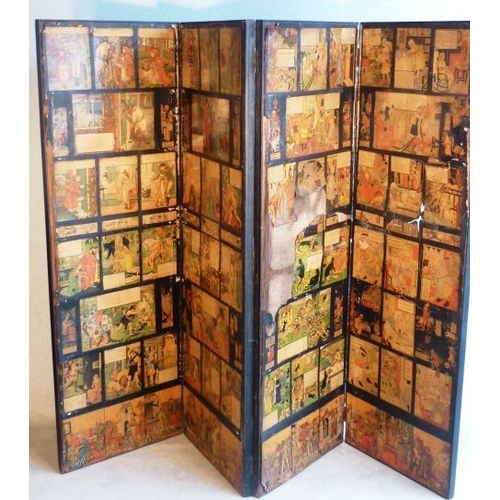 717 - A late 19th Century ebonised framed aesthetic style Room Screen decorated with various nursery style...