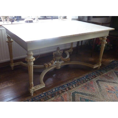 724 - A French neo-Classical style marble topped Centre Table, the overhanging marble top with yellow and ...