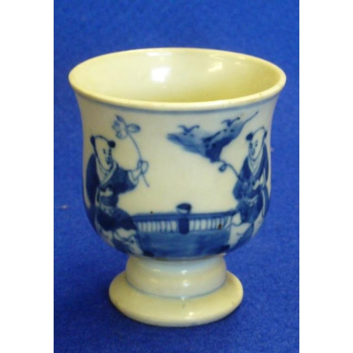75 - A Chinese porcelain ''egg cup'' shaped Pot on circular stem style foot, decorated in underglaze blue...