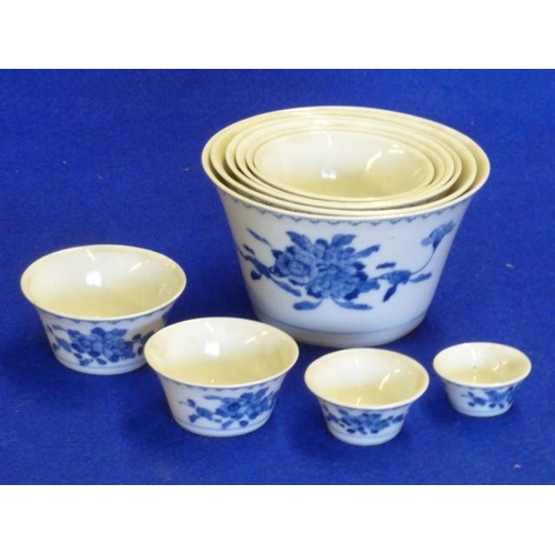 79 - An unusual set of ten concentric Chinese porcelain Bowls, each Bowl hand decorated with various flor...
