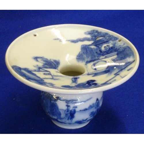 84 - An unusual (possibly Japanese) circular porcelain Spittoon hand decorated in underglaze blue with va...