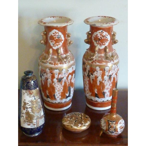 97 - A good selection of late 19th/early 20th Century Japanese Ceramics to include a pair of Kutani Vases...