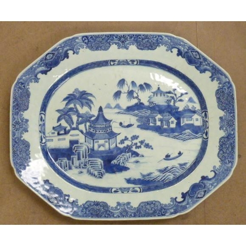 99 - A large 18th C. Chinese Exportware octagonal Platter finely hand decorated in underglaze blue with b...