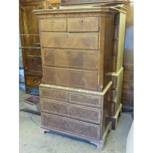 711 - An 18th Century walnut Chest on Chest of slender proportions (in the middle of a restoration project...