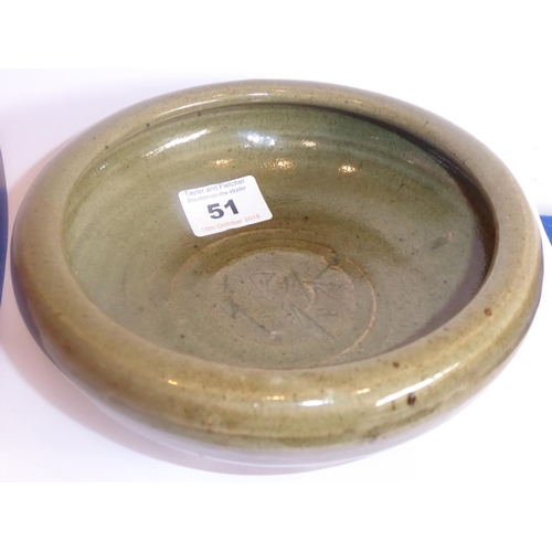 51 - A Chinese Yuan/Longquan green glaze Bowl the interior with incised characters representing happiness...