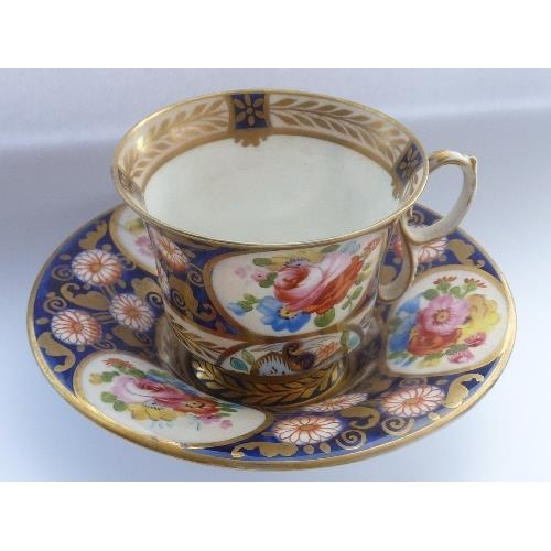 7 - An early 19th Century porcelain Cabinet Coffee Cup and Saucer, each piece very finely decorated and ...