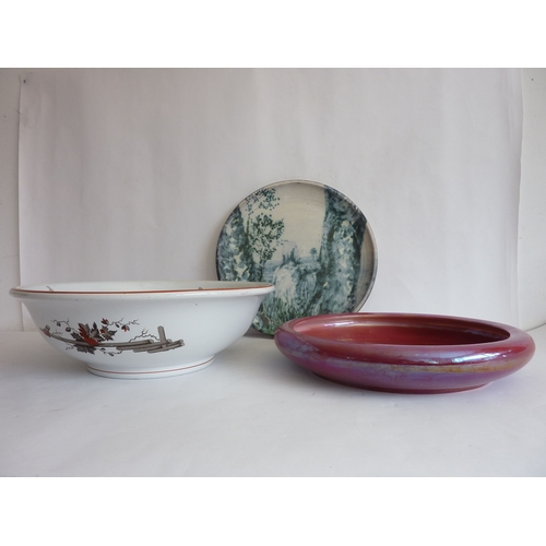29 - A large late-19th century Aesthetic style washbowl (dated April 17th 1878) together with an early-20...
