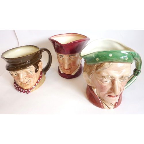 34 - Three large Character/Toby jugs, two Royal Doulton of Sam Weller and Cardinal together with a Beswic...