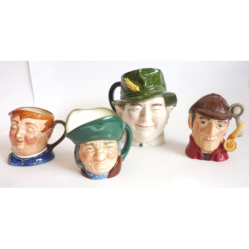 35 - Four medium-sized Character/Toby jugs: three Royal Doulton - 'Toby Philpot', 'The Sleuth' and 'Fat B...