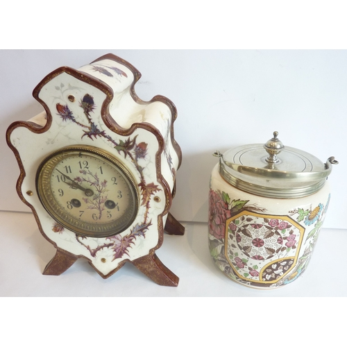 29 - A Victorian porcelain biscuit barrel together with a Victorian china clock...