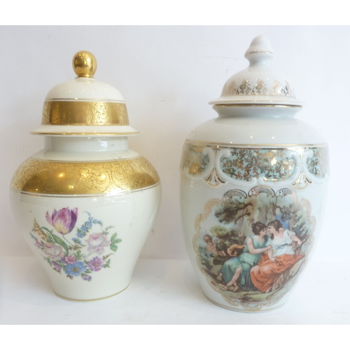 31 - A Rosenthal jar and cover together with one other similar...
