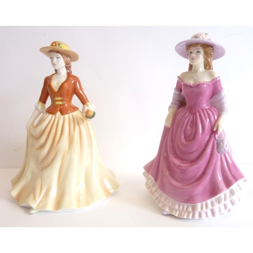 44F - Two Royal Doulton figures 'Autumn Stroll' HN 4588 and 'Summer Breeze' HN 4587...