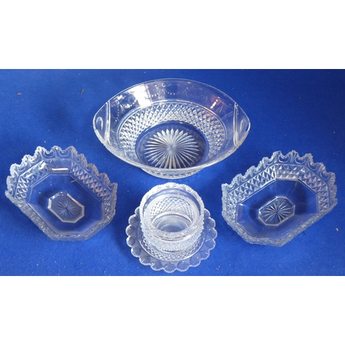 45 - Fine cut glassware to include an oval two-handled bowl hand-engraved with swags in the neo-Classical...