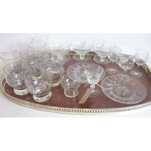 50 - A good assortment of various drinking glasses to include etched tumblers, liqueurs, dessert bowls an...