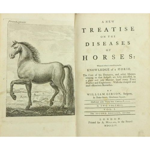 23 - Gibson (Wm.) A New Treatise on the Diseases of Horses, 2 vols. 8vo L. 1754. Second Edn., engd. front...
