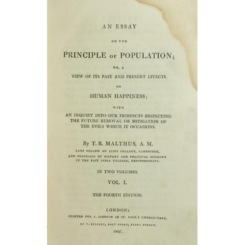 25 - Malthus (T.R.) An Essay on the Principle of Population, 2 vols. 8vo L. 1807 Fourth Edn., 2 hf. title...