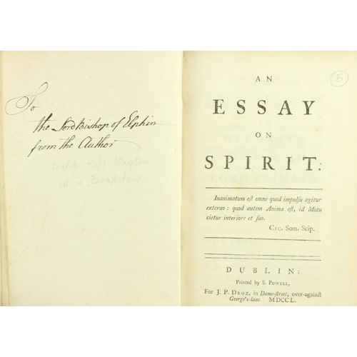 47 - Very Rare Presentation Copy  [Clayton (Bishop Robert)] An Essay on Spirit, 8vo D. (S. Powell, for J....