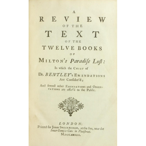 48 - Binding: Milton - A Review of the Text of the Twelve Books of Milton's Paradise Lost, 8vo L. 1733. C...