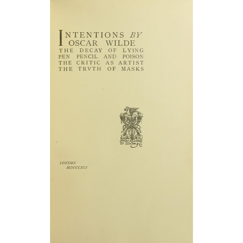 51 - Wilde (Oscar) Intentions, 8vo L. (James R. Osgood McIvaine & Co.) 1891. First Edn., uncut, orig. gre...