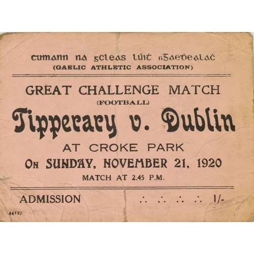 520 - A Dark Day in GAA & Irish History 'Bloody Sunday' Ticket An original Admission Ticket to Croke P...
