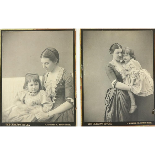 Fine Original Portrait Photos of The O'Brien Ladies  by Margaret Cameron  Two black and white Photos, each 8'' x 10'' (20cms x 26cms), both stamped ''The Cameron Studio, 70 Mortimer St., Regent Street.'' The portraits offered here are of two of the daughters of Edward William O'Brien (1837 - 1909) of Cahirmoyle, Co. Limerick - Mary, the daughter of his first wife Mary Spring Rice (and sister of the artist Dermod O'Brien) and Katherine (Kitty), the daughter of his second wife Julia Garth Marshall (and sister of the yachtsman Conor O'Brien). In one photo, Mary is holding Katherine; in the other, the child is on her knee. As photographs, w.a.f. (2)  * Julia Margaret Cameron (1815-1879) is regarded as one of the most important portrait photographers of the 19th Century. Having taken up photography at the age of 48 after receiving a camera by her daughter as a Christmas present. During a short but productive career, she produced an impressive output of over 900 photographs. Both during her lifetime and later, her close-up portraits of famous men received much praise, while her softer-focus portraits of women were less favoured, and her allegorical subjects, often featuring children, were not taken seriously. In recent times, following the publication in 1948 of her first modern biography by Helmut Gernsheim, her reputation has become firmly established.