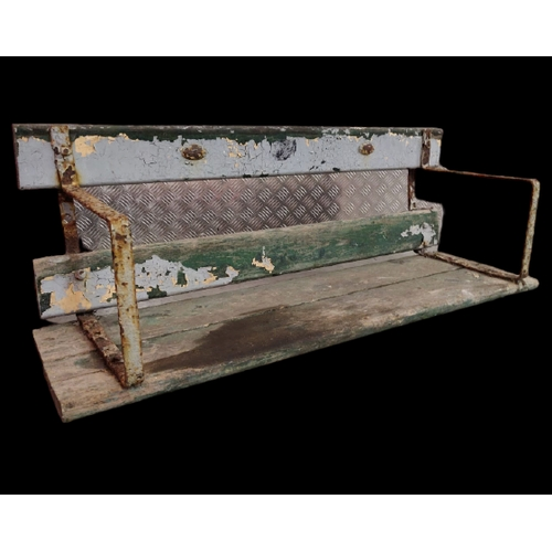 520A - G.A.A.: Croke Park:  A wooden framed Spectators Bench with wrought iron ends, with number plaques, w...