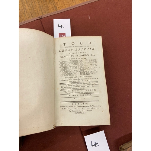 4 - de Foe (Daniel) A Tour through the Island of Great Britain, 4 vol. 12mo D. 1779. Ninth, cont. full c...