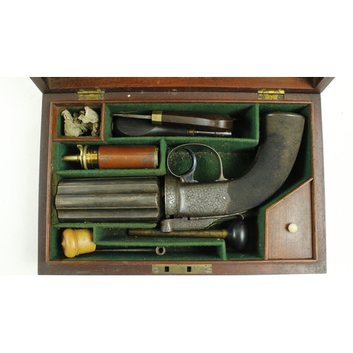 500 - <strong>A rare 19th Century James Wilkinson and Son '6 shooter' Percussion hand Gun,</strong> with e...
