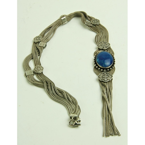 539 - An attractive Ladies silver link mesh type Necklace, with ornate circular bands, terminating with a ...