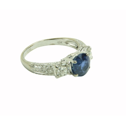 538 - <strong>A fine quality Ladies Art Deco style Ring,</strong> with two .34ct diamonds (G/VVS) mounted ...