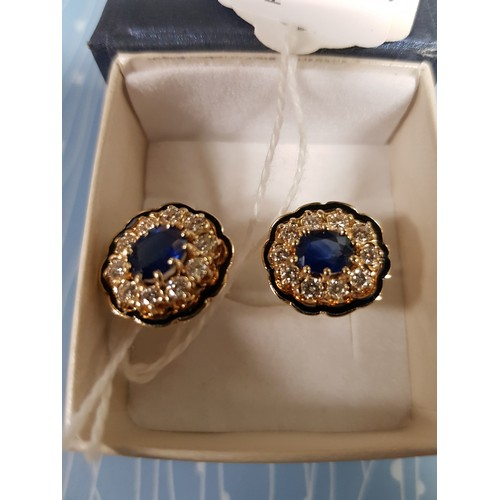 537 - <strong>A pair of 14 ct gold 9.2 gms Ear Rings,</strong> each with approx. 1.25cts (20 diamonds) G/V...