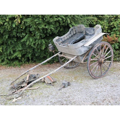 12 - A late 19th Century Pony Trap, with cushions, leather tack etc., by Donaghy Makers, Thurles. (a lot)