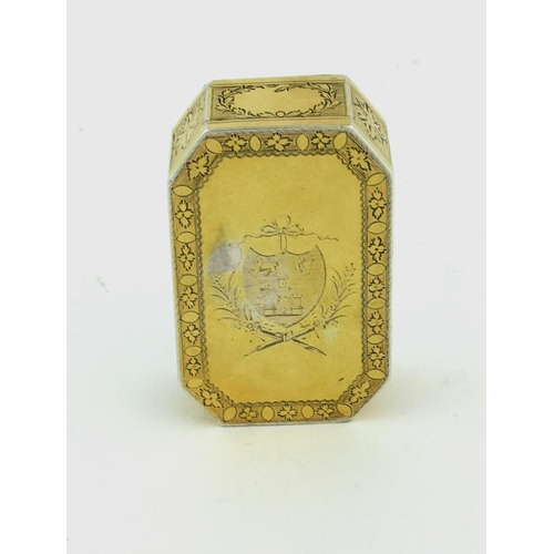 42 - A fine and important octagonal Irish George III silver gilt Presentation Snuff Box, of elongated for...