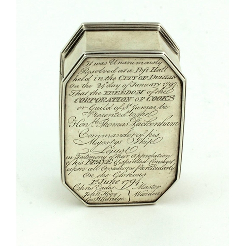 43 - A fine George III Freedom Box, presented to The Hon. Thomas Packenham for 'Brave and spirited conduc...