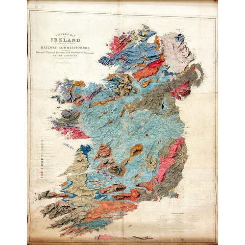 "Extremely Fine Large Hand-Coloured Geological MapIrish Map: A General Map of Ireland to accompany the Report of the Railway Commissioners showing the Principal Physical Features and Geological Structure of that Country, Constructed in 1836 and Engraved in 1837-8. Published Dublin (Hodges Smith) & London. Made up of 6 sections now laid on linen, approx. 182cms x 152cms (72"" x 60""), signed by Larcom, the entire in finely executed hand colouring, mounted on a contemporary wooden roller with brass wheels. As a map, w.a.f. A very good example. (1)"