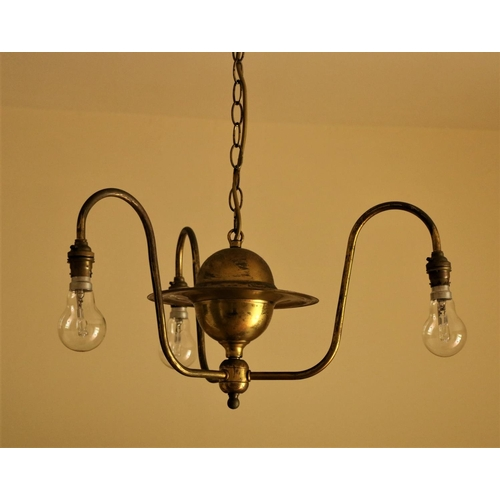 1 - <strong>A three branch brass Ceiling Light. (1)</strong>...
