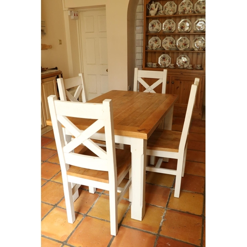 10 - <strong>An oak and painted Kitchen Suite,</strong> comprising four heavy bracket type Chairs with X ...