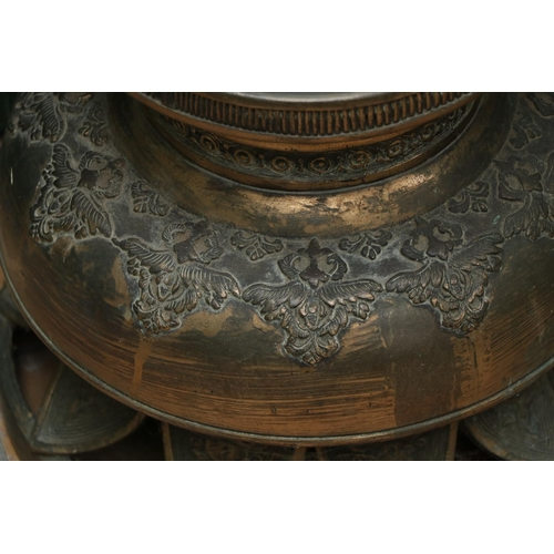13 - <strong>A very heavy Oriental 19th Century bronze Vase</strong>, decorated with large dragon and tor...