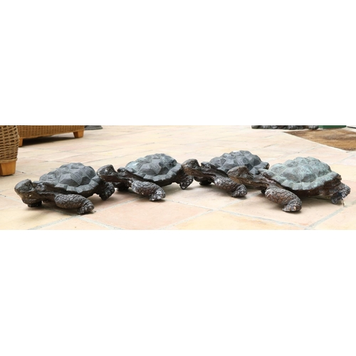 14 - <strong>A good set of 4 heavy cast bronze Fountain or Garden Pond Ornaments,</strong> each modelled ...