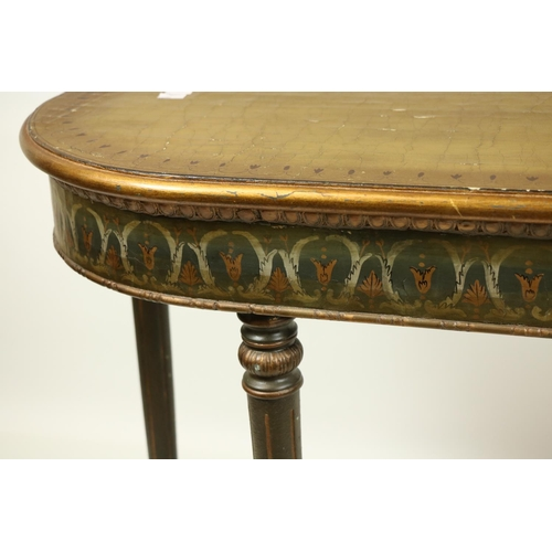 18 - <strong>A pair of attractive polychrome painted and parcel gilt D shaped Side Tables,</strong> in th...