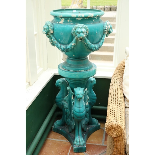 21 - <strong>A pair of very large turquoise coloured glazed </strong><strong>porcelain</strong><strong>m...