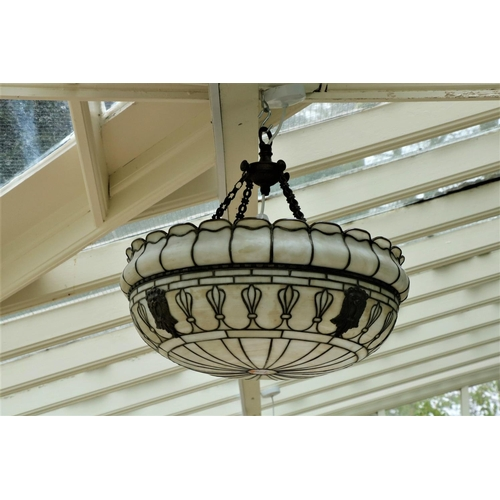 22 - <strong>An attractive large Art Deco style Ceiling Light</strong>, with brass decoration. (1)...