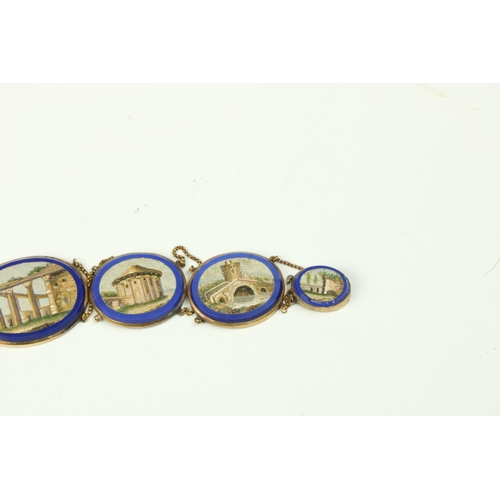 229 - An important early 19th Century gold and micro-mosaic Necklace, featuring ten graduating oval shaped...